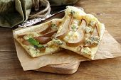 Puff pastry tart with blue cheese and pears