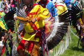 stock photo of native american ethnicity  - American Indian dance in colorful native costume - JPG