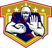 image of scat  - Illustration of an american football gridiron running back player running with ball facing front fending set inside shield done in retro style - JPG