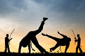 stock photo of karate-do  - an illustration of people doing Capoeira at sunset - JPG