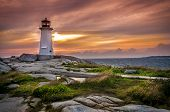 stock photo of lighthouse  - Sunset on Peggy - JPG