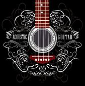 stock photo of singing  - grungy vector background with black acoustic guitar - JPG