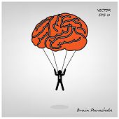 stock photo of parachute  - brain parachute with businessman on background  - JPG