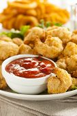 pic of popcorn  - Organic Breaded Popcorn Shrimp with Cocktail Sauce - JPG