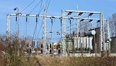 pic of transformer  - view of a big transformer and high voltage substation - JPG