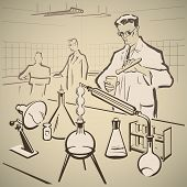 pic of chemistry technician  - Chemists making experiments in the laboratory vector illustration - JPG