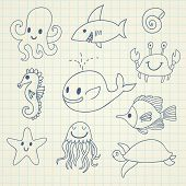 Cute marine set in vector. Whale, octopus, jellyfish, fishes, seahorse, turtle, starfish and crab in