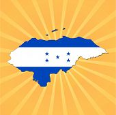 Honduras map flag on sunburst illustration