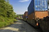 Freight Train Hauls Goods To Market