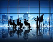 stock photo of city silhouette  - Business Presentation in New York City Office - JPG