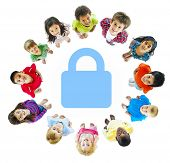 stock photo of pre-adolescents  - Diverse Children in Circle Around Safety Lock - JPG