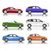stock photo of generic  - Collection of 3D Cars Vector - JPG