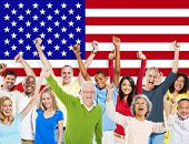 picture of indian flag  - Group of Diverse People Celebrating With American Flag - JPG