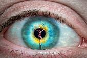 image of follow-up  - Close up of eye with Jesus Christ on the cross reflected in it - JPG