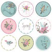 image of garden-art  - spring garden theme circle tags - JPG