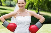 stock photo of boxing day  - Portrait of young bride wearing boxing gloves with hands on waist in garden - JPG