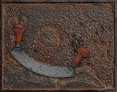 Vintage Chopper Over Rusty Plate