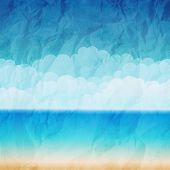 pic of beachfront  - Vector illustration sea beach in vintage style - JPG