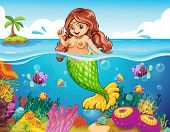 Illustration of a sea with a smiling mermaid