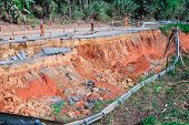 stock photo of landslide  - broken road by an earthquake or landslide - JPG