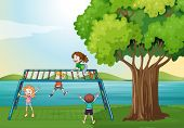 foto of playmates  - Illustration of the kids playing near the river - JPG
