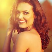 image of shy girl  - Beauty Sunshine Girl Portrait - JPG