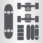 stock photo of skateboarding  - Skateboard and fingerboard icon as a symbol of skateboard - JPG