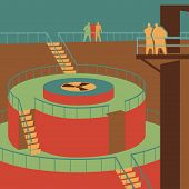 pic of reactor  - People watching the reactor at the nuclear power station retro vector illustration - JPG