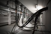 foto of electric station  - the cellar of an electric station incoming electric wires - JPG