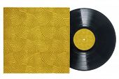 Retro Long Play Vinyl Record With Gold, Groove-textured Sleeve.