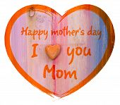 image of i love you mom  - Heart shape with I love you Mom and Happy Mothers Day message white background - JPG