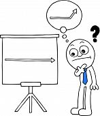 image of going out business sale  - Hand drawn cartoon businessman thinking beside standing sales chart with question mark and thought bubble of arrow going up - JPG