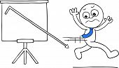 foto of going out business sale  - Hand drawn cartoon businessman running away from standing sales chart with sales going down off chart - JPG