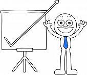 stock photo of going out business sale  - Hand drawn cartoon happy businessman hands raised up with sales chart arrow going up off chart symbolizing big profits - JPG