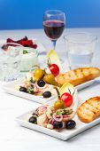 stock photo of ouzo  - greek salad of grilled octopus with red wine - JPG