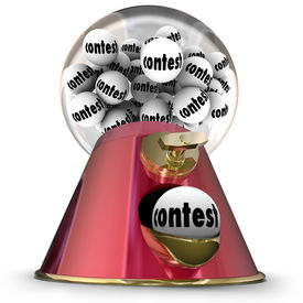 stock photo of gumball machine  - Contest Word Gumball Machine Random Winner Drawing - JPG