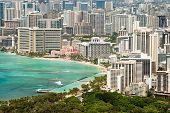 picture of waikiki  - Aerial view of Honolulu and Waikiki beach from Diamond Head - JPG