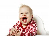 image of mouth  - Portrait of baby wiht dirty mouth after eating - JPG