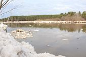 stock photo of kan  - Kan River after ice drift near Zelenogorsk, Krasnoyarsk Territory