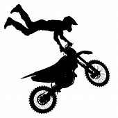 stock photo of motocross  - Black silhouettes Motocross rider on a motorcycle - JPG