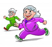 foto of old lady  - Cartoon old lady and old man engaged in jogging - JPG