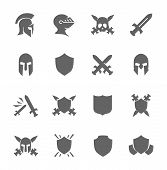 stock photo of armor suit  - Simple Set of War Related Vector Icons for Your Design - JPG