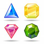 stock photo of gem  - Cartoon vector gems and diamonds game icons - JPG