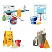 pic of dust-bin  - Illustration of 4 highly detailed cleaning icons - JPG