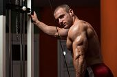 image of light weight  - Young Bodybuilder Doing Heavy Weight Exercise For Triceps - JPG