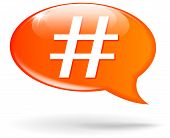 picture of hashtag  - illustration of hashtag orange speech bubble on white background - JPG