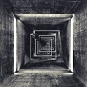 image of tunnel  - Abstract square dark concrete tunnel interior 3d background - JPG