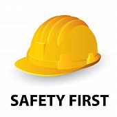 stock photo of headgear  - Yellow safety hard hat isolated white - JPG