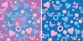 stock photo of hetero  - pattern with gradient signs of men and women and hearts - JPG