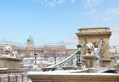foto of royal palace  - Chain Bridge and  Royal Palace  in Budapest at winter day Hungary - JPG